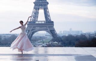 paris ballerina pink gown eiffel tower