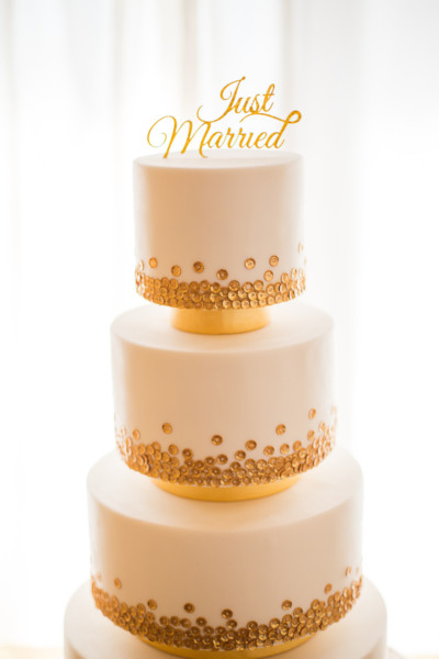 epic gold sequin wedding cake