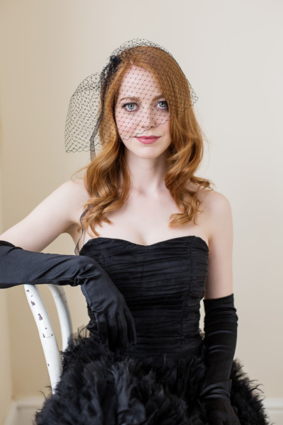 classic sitting portrait with birdcage veil